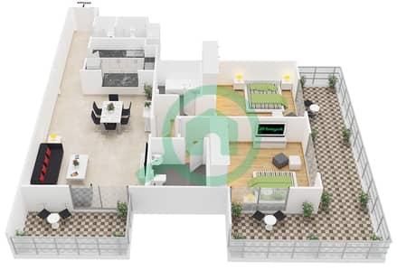 المخططات الطابقية لتصميم النموذج B1 شقة 2 غرفة نوم - برمودا فيوز