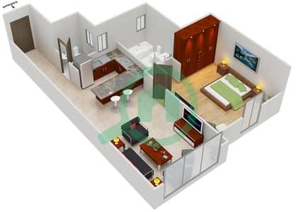 المخططات الطابقية لتصميم النموذج A شقة 1 غرفة نوم - مساكن القناه المائية غرب