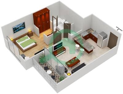 المخططات الطابقية لتصميم النموذج B شقة 1 غرفة نوم - مساكن القناه المائية غرب