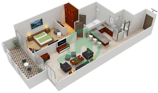 المخططات الطابقية لتصميم النموذج C شقة 1 غرفة نوم - مساكن القناه المائية غرب