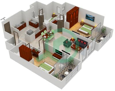 المخططات الطابقية لتصميم النموذج A1 شقة 2 غرفة نوم - مساكن القناه المائية غرب