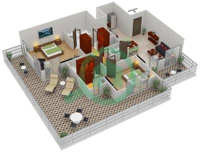 المخططات الطابقية لتصميم النموذج B1 شقة 2 غرفة نوم - مساكن القناه المائية غرب