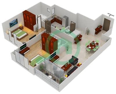 المخططات الطابقية لتصميم النموذج C1 شقة 2 غرفة نوم - مساكن القناه المائية غرب
