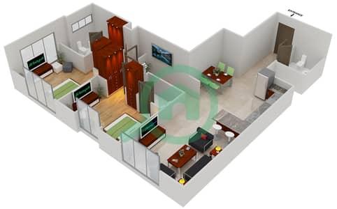 المخططات الطابقية لتصميم النموذج D1 شقة 2 غرفة نوم - مساكن القناه المائية غرب