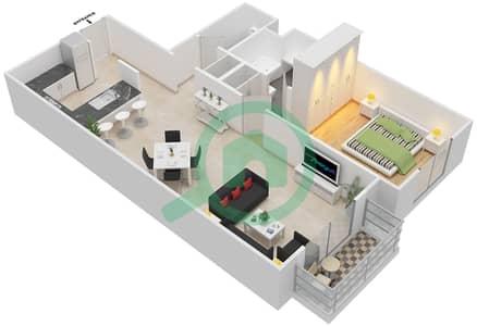 مساكن سنتوريون - 1 غرفة شقق نوع B مخطط الطابق