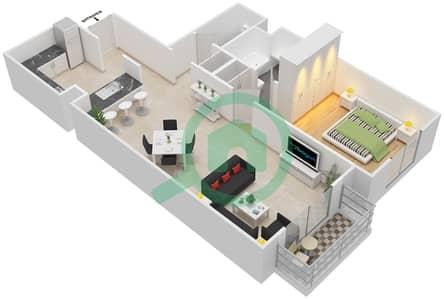 مساكن سنتوريون - 1 غرفة شقق نوع C مخطط الطابق