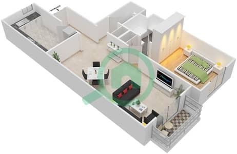 مساكن سنتوريون - 1 غرفة شقق نوع F مخطط الطابق