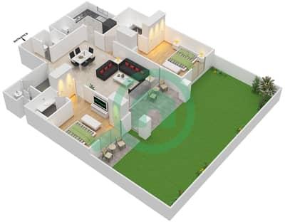 مساكن سنتوريون - 2 غرفة شقق نوع A Ground مخطط الطابق