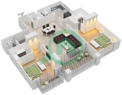 مساكن سنتوريون - 2 غرفة شقق نوع A مخطط الطابق