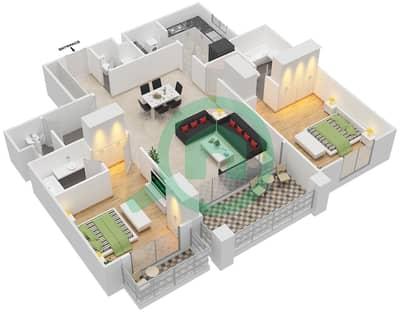 مساكن سنتوريون - 2 غرفة شقق نوع E مخطط الطابق