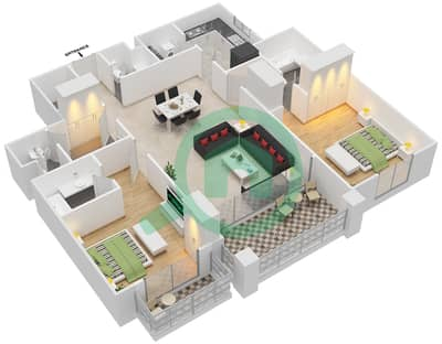 مساكن سنتوريون - 2 غرفة شقق نوع C مخطط الطابق