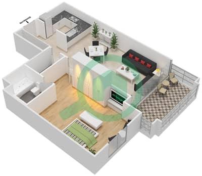 مساكن سنتوريون - 1 غرفة شقق نوع D مخطط الطابق