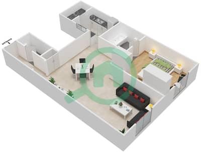 مساكن سنتوريون - 1 غرفة شقق نوع E مخطط الطابق