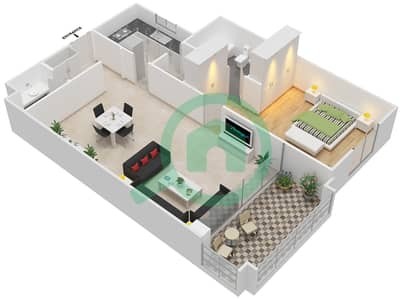 مساكن سنتوريون - 1 غرفة شقق نوع A مخطط الطابق