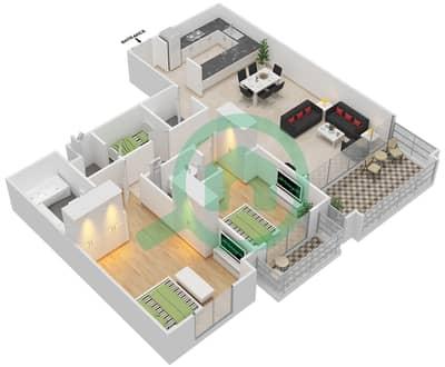 مساكن سنتوريون - 2 غرفة شقق نوع D مخطط الطابق