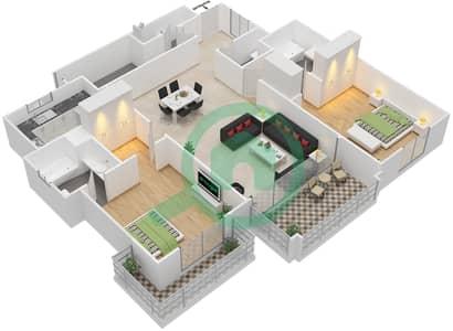 مساكن سنتوريون - 2 غرفة شقق نوع F مخطط الطابق