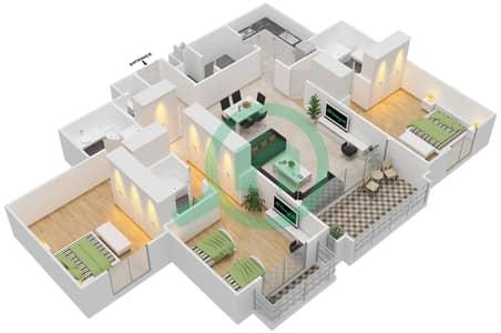 مساكن سنتوريون - 3 غرف شقق نوع A مخطط الطابق
