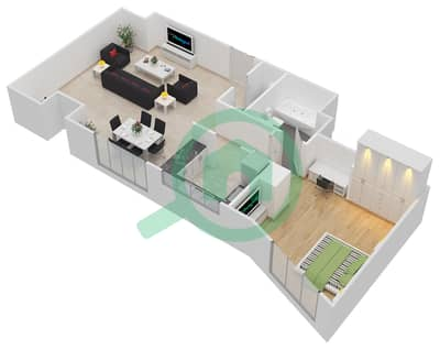 المخططات الطابقية لتصميم النموذج A شقة 1 غرفة نوم - داماك ميزون بايز إيدج