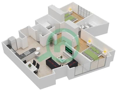 المخططات الطابقية لتصميم النموذج A شقة 2 غرفة نوم - داماك ميزون بايز إيدج