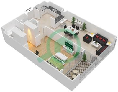 المخططات الطابقية لتصميم النموذج A شقة 1 غرفة نوم - دبي وورف