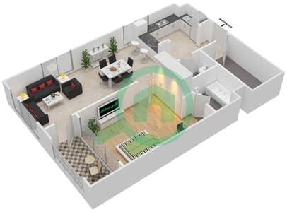 المخططات الطابقية لتصميم النموذج B شقة 1 غرفة نوم - دبي وورف