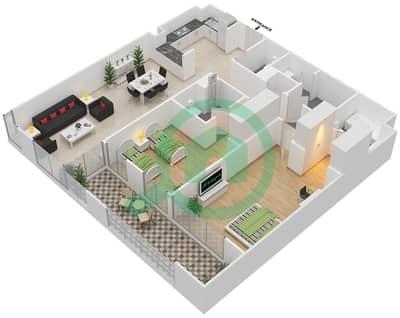 المخططات الطابقية لتصميم النموذج A شقة 2 غرفة نوم - دبي وورف