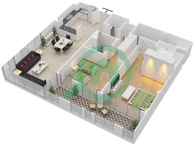 المخططات الطابقية لتصميم النموذج B شقة 2 غرفة نوم - دبي وورف