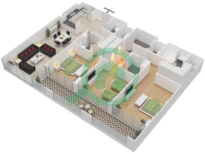 المخططات الطابقية لتصميم النموذج A شقة 3 غرف نوم - دبي وورف