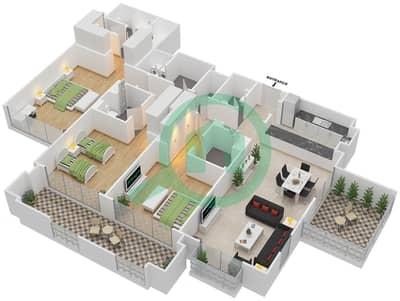 المخططات الطابقية لتصميم النموذج D شقة 3 غرف نوم - دبي وورف
