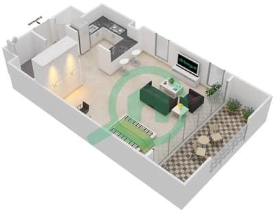 المخططات الطابقية لتصميم النموذج A شقة  - دبي وورف
