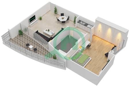 المخططات الطابقية لتصميم الوحدة 3 شقة 1 غرفة نوم - فيرست سنترال للشقق الفندقية