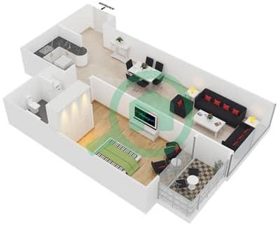 المخططات الطابقية لتصميم النموذج A شقة 1 غرفة نوم - جلوبال ليك فيو