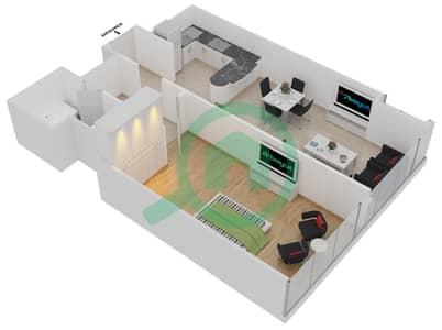 المخططات الطابقية لتصميم النموذج B شقة 1 غرفة نوم - جلوبال ليك فيو
