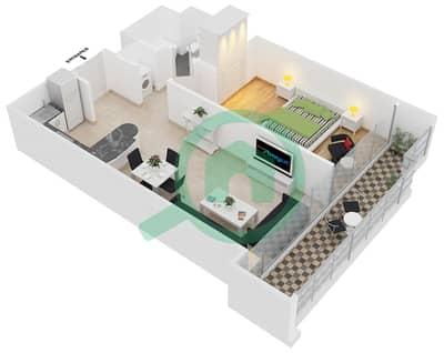 المخططات الطابقية لتصميم النموذج C شقة 1 غرفة نوم - جلوبال ليك فيو