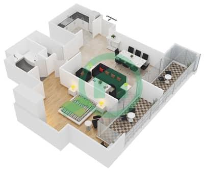 المخططات الطابقية لتصميم النموذج D شقة 1 غرفة نوم - جلوبال ليك فيو