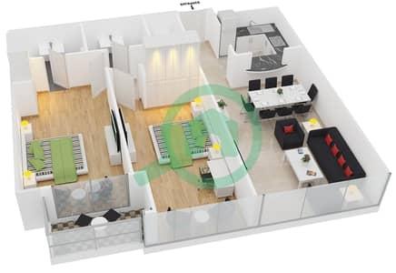 المخططات الطابقية لتصميم النموذج A شقة 2 غرفة نوم - جلوبال ليك فيو