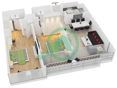 المخططات الطابقية لتصميم النموذج B شقة 2 غرفة نوم - جلوبال ليك فيو