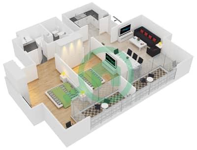 المخططات الطابقية لتصميم النموذج C شقة 2 غرفة نوم - جلوبال ليك فيو