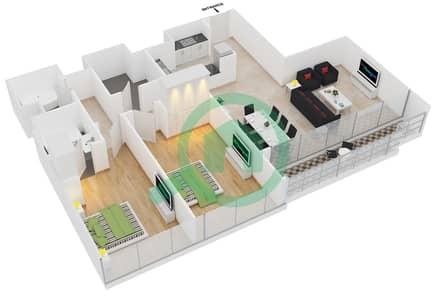 المخططات الطابقية لتصميم النموذج D شقة 2 غرفة نوم - جلوبال ليك فيو