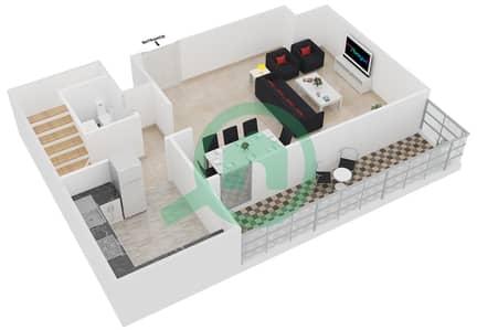 المخططات الطابقية لتصميم النموذج DUPLEX 1 شقة 3 غرف نوم - جلوبال ليك فيو