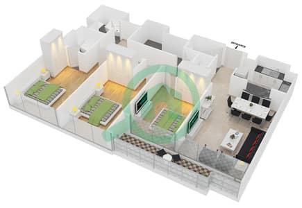 المخططات الطابقية لتصميم النموذج A شقة 3 غرف نوم - جلوبال ليك فيو