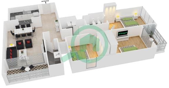 المخططات الطابقية لتصميم النموذج B شقة 3 غرف نوم - جلوبال ليك فيو