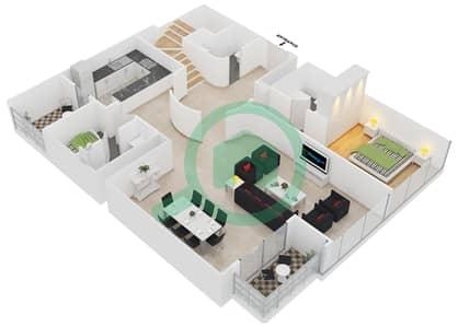 المخططات الطابقية لتصميم النموذج DUPLEX 2 شقة 4 غرف نوم - جلوبال ليك فيو