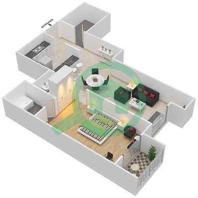 المخططات الطابقية لتصميم النموذج A شقة 1 غرفة نوم - برجي لايم لايت التوأم