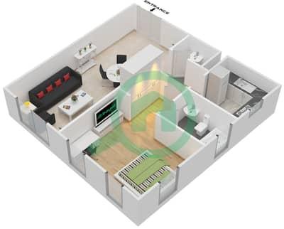 المخططات الطابقية لتصميم النموذج B شقة 1 غرفة نوم - برجي لايم لايت التوأم