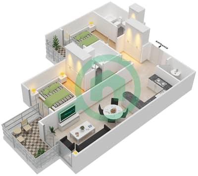 المخططات الطابقية لتصميم النموذج A شقة 2 غرفة نوم - برجي لايم لايت التوأم