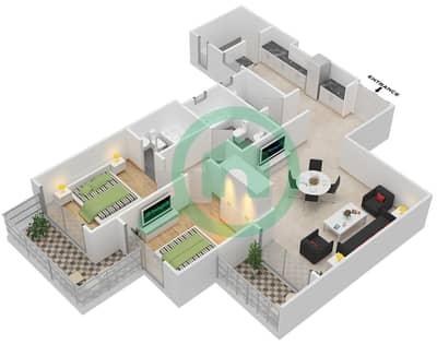 المخططات الطابقية لتصميم النموذج B شقة 2 غرفة نوم - برجي لايم لايت التوأم