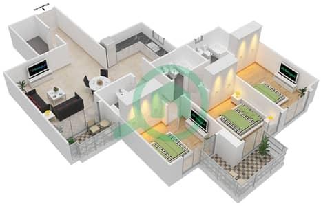 المخططات الطابقية لتصميم النموذج A شقة 3 غرف نوم - برجي لايم لايت التوأم