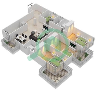 المخططات الطابقية لتصميم النموذج B شقة 3 غرف نوم - برجي لايم لايت التوأم