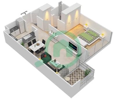المخططات الطابقية لتصميم النموذج A شقة 1 غرفة نوم - ماج 230